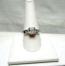 QVC Diamonique Silver Plate 3 Stone Ring Size 10 CZ Asher Cut Triangle Sides