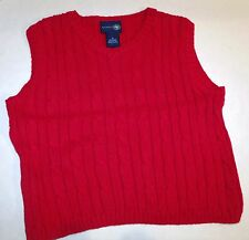 NWOT J Khaki Deep Red Cable Knit Sweater Vest 5 C-2