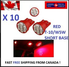 10X RED Xenon LED T10 8SMD/5050/194Bulbs Cluster W5W license Plate Short Base
