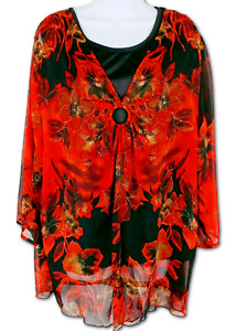 Signature Top Sheer Layered Two-Piece Set Floral Red Black 3/4 Sleeve Size 3X