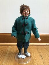Vintage Christmas Caroler doll plastic stand boy man 12""