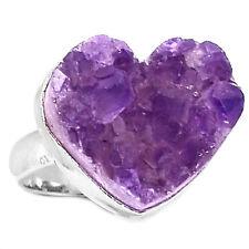 Heart Amethyst Druzy 925 Sterling Silver Ring Jewelry s.7.5 HADR30