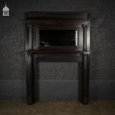 19th C Neo Classical Oak Fire Surround with Mirrored Overmantle and Fluted Corin