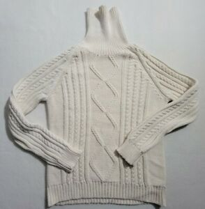 Isaac Mizrahi Ivory Turtle Neck Cable Knit Sweater Womens Size XL