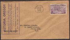 1936 Oregon Centennial 3c Stamp FDC Sc783-51 Purple Rubber Stamp Cachet
