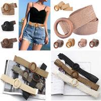 Round Wooden Buckle Elastic Straw Belt Women Braided Wide Woven Waistband Summer