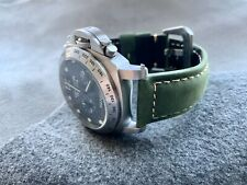 24mm Assolutamente Green Genuine Leather Watch Strap For Panerai PAM Watches