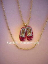 Wizard of Oz Dorothy's Ruby Slippers Romanov Necklace 100's Diamond Crystals