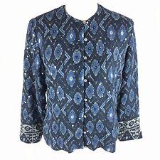 Laura Ashley Petite Womens Silk Blouse Sz PM Petite Medium Boho Sequin Top Blue