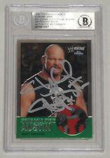 Stone Cold Steve Austin Signed 2007 Topps Heritage Chrome WWE Card #11 BAS COA