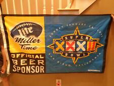 New listing 1998 Nfl Super Bowl Xxxii - Miller Lite Beer - Advertising Banner / Sign / Flag