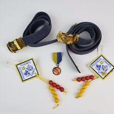 Vintage Cub Scout Lot 2-Belts Rank Badges and Pine Wood Derby Bronze Award