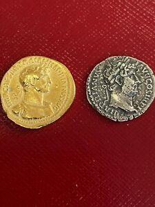 Hadrian Gold Aureus & Denarius Silver Coin Pair Minted AD 118 and 137-38 AD
