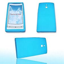 Silikon TPU Handy Hülle Cover Case in Bla für Sony Xperia P + Displayschutzfolie