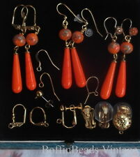 LUSH vintage Millefiori ORANGE DROPS EARRINGS Japanese art glass GP - GIFT IDEA