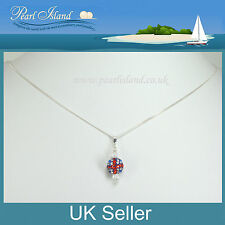 GB Union Jack Drapeau shamballa collier pendentif en cristal, 16 pouces, bijoux