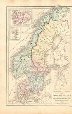 1868 ANTIQUE MAP- DRIOUX et LEROY-SCANDINAVIA, PHYSICAL AND POLITICAL
