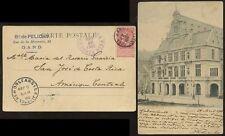 BELGIUM 1905 PPC GAND THEATRE via NEW ORLEANS to COSTA RICA