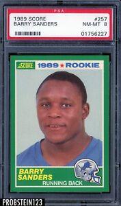 1989 Score Football #257 Barry Sanders Detroit Pistons RC Rookie HOF PSA 8 NM-MT