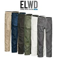 Mens Elwood Work Utility Pants Knee Panels Canvas Tradie Phone Pocket EWD101