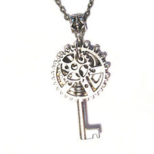 """Steampunk Key Gears Cluster Charm Silver Plated 16"""" Chain Link Necklace"""