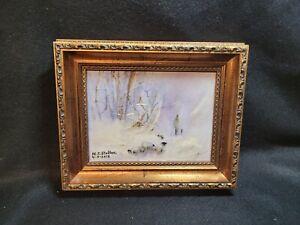winter sheep  scene  with Shepherd oil on board