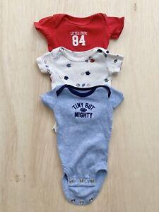 Carter's Preemie Baby Boy Short Sleeve One Piece Sporty Football Baby Set of 3