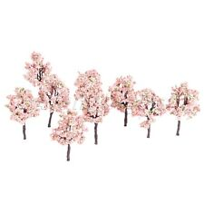 10Pcs Model Tree Train Forest Woods Pink Flowers Layout 11cm OO HO Scale