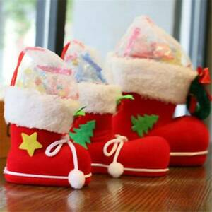 Xmas Tree Christmas Stocking Boot Santa Claus Candy Gift Bag Hanging Decor GR