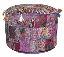 Ottoman Foot-Stool Pouffe Cover Embroidered Patchwork Mix Patch Beanbag Cover