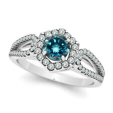 0.73 Carat Blue Round Diamond Fancy Halo Wedding Bridal Ring 14K White Gold