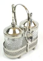 Vintage Glass & EPNS Silver Plated Condiment Caddy with Spoons  [6190]