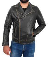 Mens Slim Fit Rub Off Biker Leather Jacket Distressed Rugged Cowhide Brando Cruz
