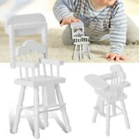 White Dining High Chair Doll House Miniature Furniture Seating Childs Chair #GD