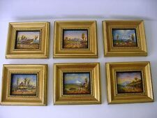 6 MINIATURE PAINTINGS BY ECUADORIAN LISTED ARTIST MONCAYO from Gumps