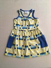 Hanna Andersson Toddler Girls' Sleeveless Dress Yellow Blue Size 4T