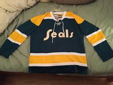Mens Large NHL California Seals Authentic CCM Vintage Throwback Hockey Jersey