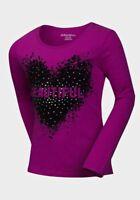 New Girls Long sleeve Cotton T-Shirt Beautiful Heart & Stud Top Age 6 - 16