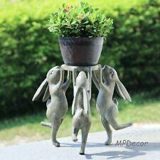 Rabbit Triplets Planter Stand Garden Bunny Gazing Ball Holder Flower Pot