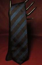 "GLADSON 100% Silk 3 3/8"" x 56"" Black & Shimmer Blue Tie Made in Italy New BOGO!"