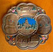 Vintage Kansas State Monuments Metal Brass Souvenir Trinket Dish Made in Japan