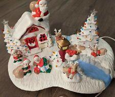 "17"" Large One Piece Christmas Village Santa Elves Deer Ceramic Christmas Trees"
