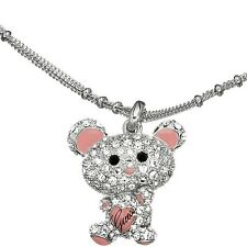 GUESS silver Panda Bear Necklace  Bella Collier Rhinestone Logo Heart No Tag New