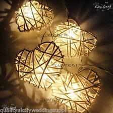 White Rattan Cane Love Hearts LED Fairy Light String 3 Meters Long 220V UK
