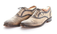 CALZOLERIA HARRIS Shoes 10.5 D in Gray Black Trim Antiqued Brogue Oxfords ITALY