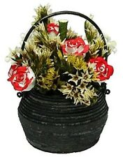 Blood Roses in a Black Cauldron Dollhouse Miniature - Bright Delights #A204
