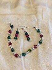 Multi Quartz Bracelet, Necklace and Earrings Set