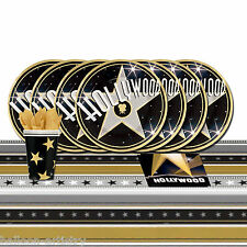 HOLLYWOOD ORO NERO STAR luci Compleanno Stoviglie COMPLETA PARTY PACK per 16