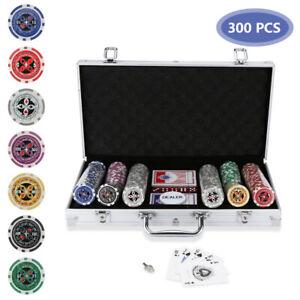 Pokerchips 300 Chips Alu-Gehäuse Pokerset Pokerkoffer Tischauflage Spielmatte