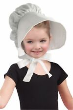 White Pioneer Child Bonnet Hat Wide Brim Girls Prairie Costume Accessory Amish
